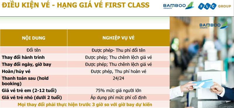 Điều kiện vé hạng giá vé hạng ghếFirst Class