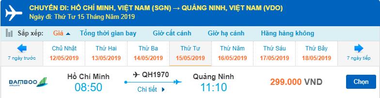 Giá vé máy bay Hồ Chí Minh đi Vân Đồn Quảng Ninh