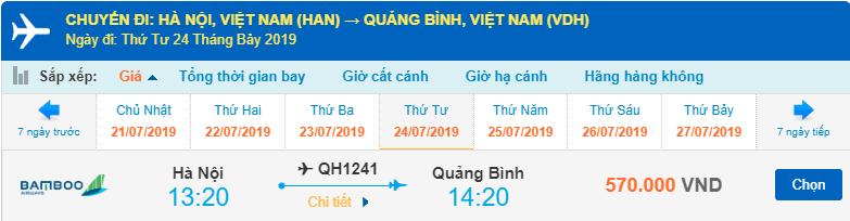 Giá vé máy bay đi Đồng Hới của Bamboo Airways