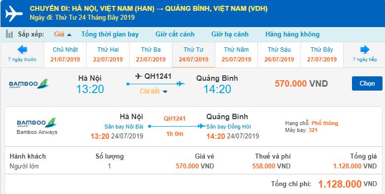 Chi tiết giá vé máy bay đi Đồng Hới của Bamboo Airways