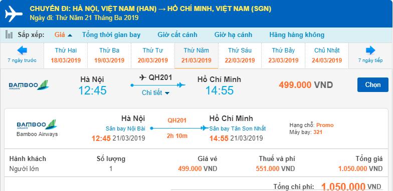 Giá vé hành trình Hà Nội đi Hồ Chí Minh chi tiết