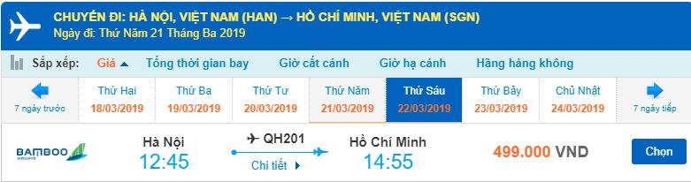Giá vé hành trình Hà Nội đi Hồ Chí Minh