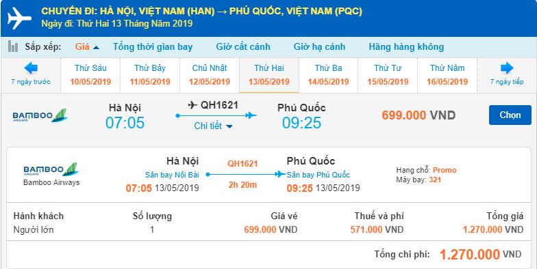 Giá vé máy bay Bamboo Airways hành trình Hà Nội đi Phú Quốc