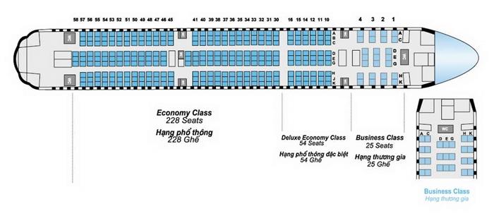 Sơ đồ ghế ngồi trên máy bay giúp bạn dễ dàng chọn lựa chỗ ngồi