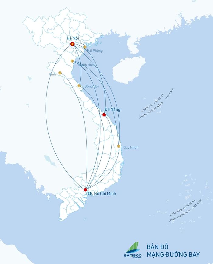 Đường bay Bamboo Airways sẽ đưa vào khai thác