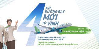Bamboo Airways khai thác 4 chặng bay mới đến Vinh
