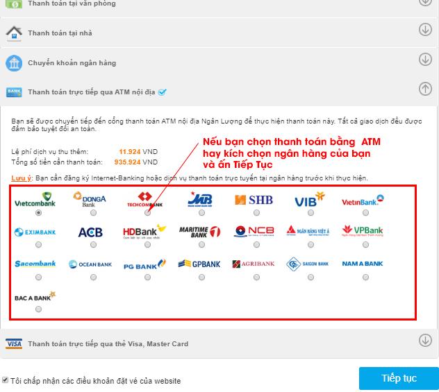 Hướng dẫn thanh toán online trực tiếp qua ATM nội địa