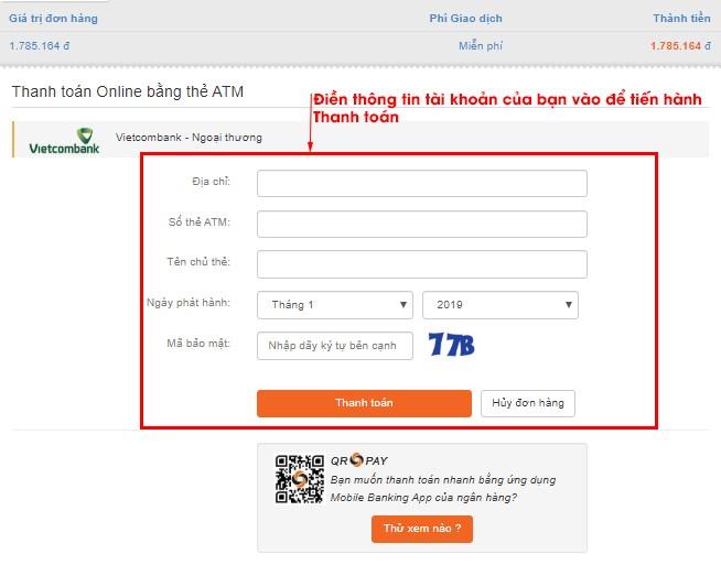 Thanh toán online trực tiếp qua ATM nội địa