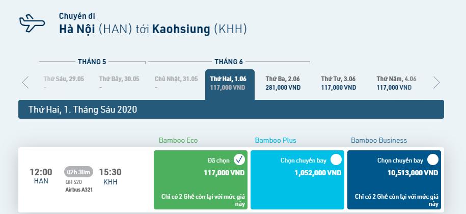 Thông tin đường bay Hà Nội – Cao Hùng (HAN – KHH – HAN)