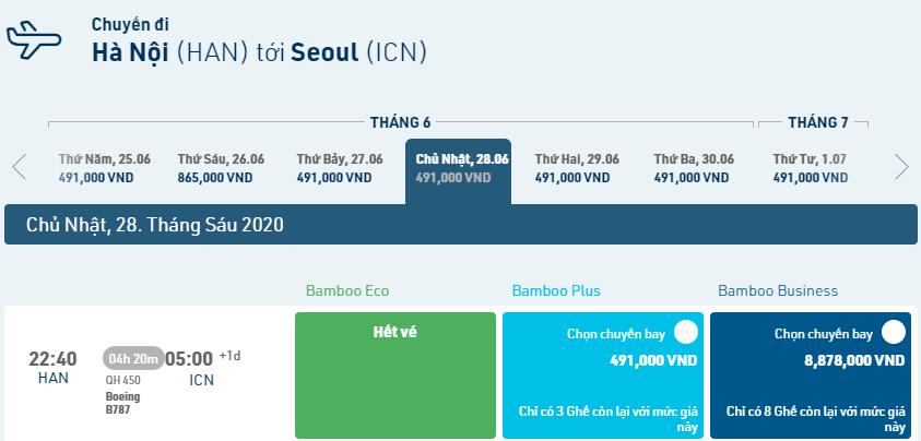 Đường bay Hà Nội – Incheon ( HAN – INC – HAN)