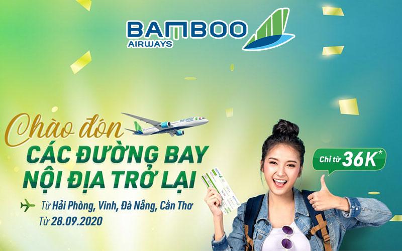 Bamboo Airways khai thác các chuyến bay nội địa chỉ từ 36.000 VND