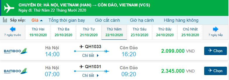 Giá vé máy bay đi Côn Đảo Bamboo Airways