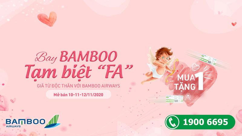 """Bamboo Airways khuyến mãi mua 1 tặng 1 Tạm biệt """"FA"""""""