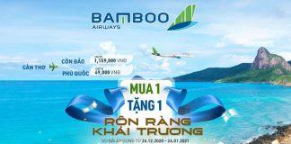 Bamboo Airways khuyến mãi mua vé chiều đi miễn vé chiều về