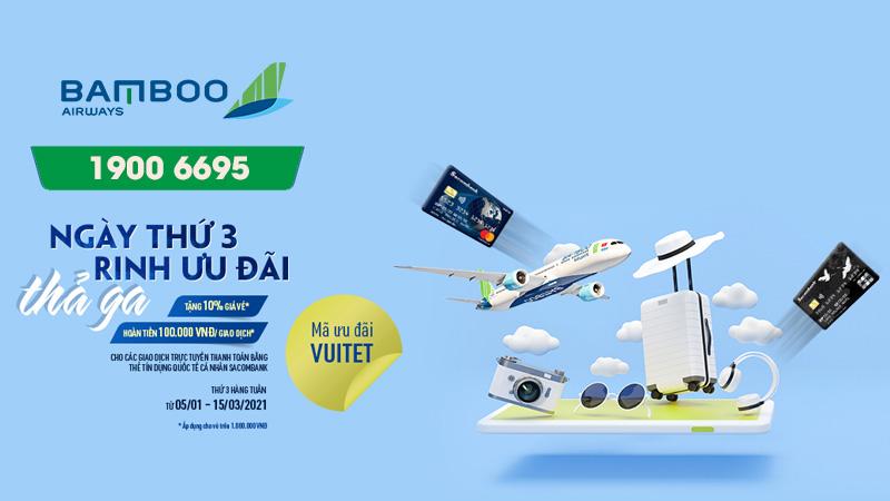 Bamboo Airways khuyến mãi giảm 10% ngày thứ 3 ưu đãi thả ga