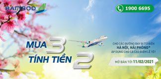 Bamboo Airways khuyến mãi mua 3 tính tiền 2 đón Tết xum vầy