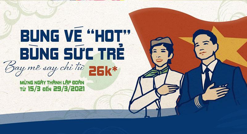 Mừng ngày thành lập đoàn Bamboo Airways khuyến mãi chỉ từ 26.000 VND