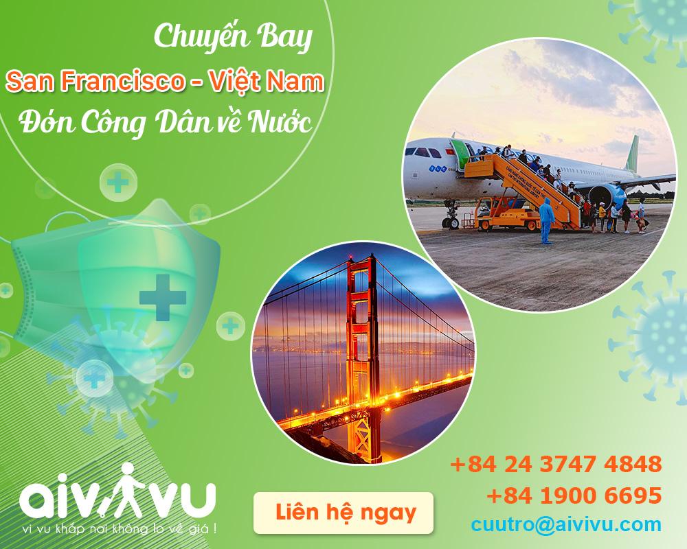 Vé máy bay từ San Francisco về Việt Nam